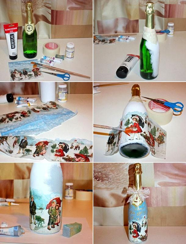 Как украсить своими руками бутылку шампанского: техника декупаж