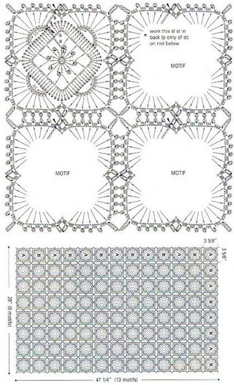 Бабушкин квадрат крючком: схема и описание 5