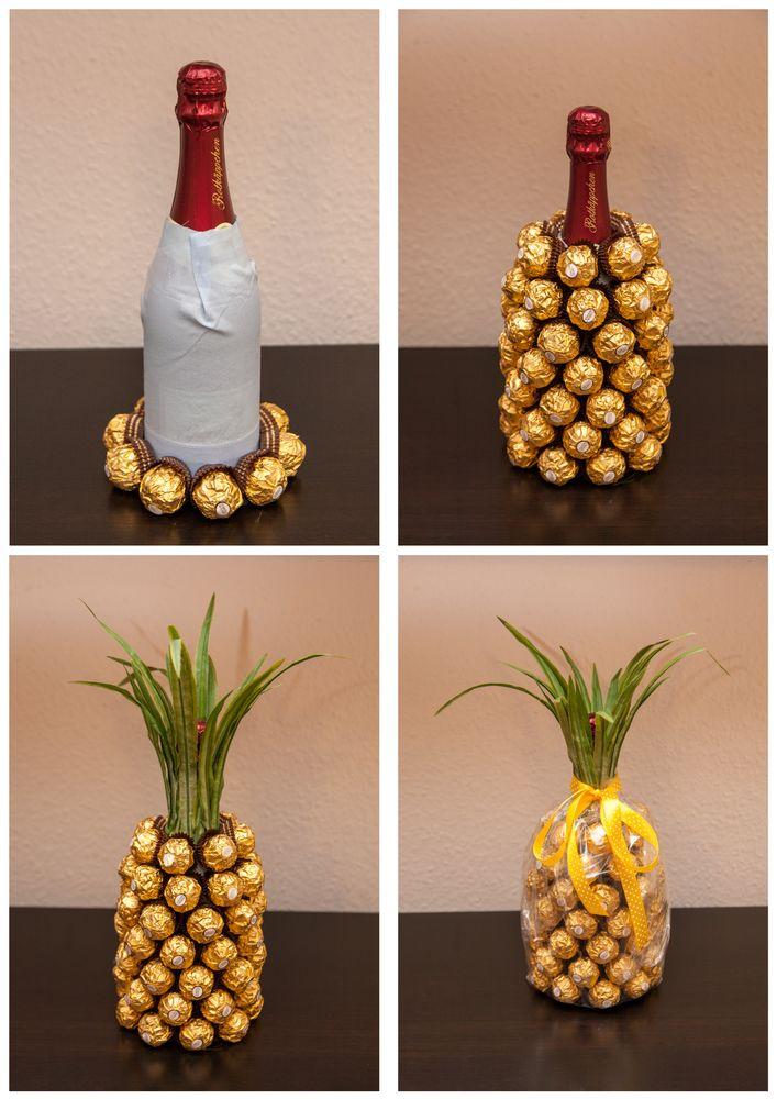 Как украсить своими руками бутылку шампанского: ананас