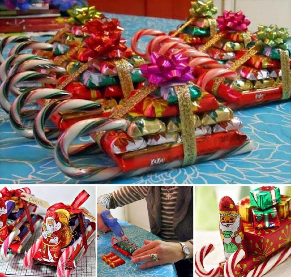 Санки из конфет на Новый год своими руками: инструкция