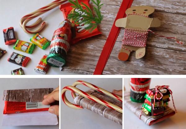 Санки из конфет на Новый год своими руками: как сделать