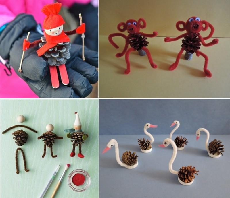 Новогодняя поделка в детский сад на выставку: из шишек