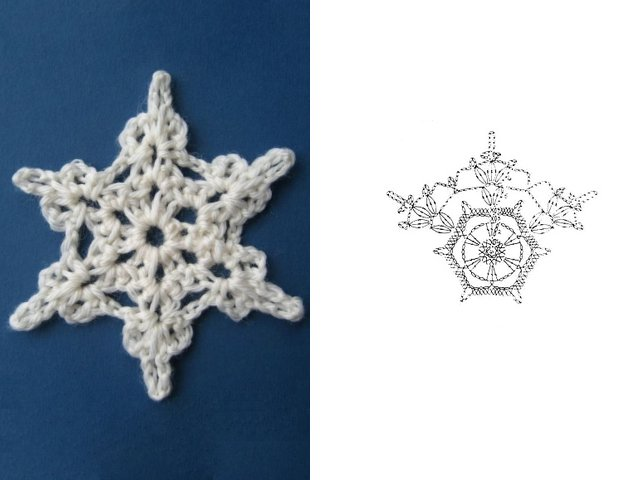Как вязать снежинку крючком: схема 3