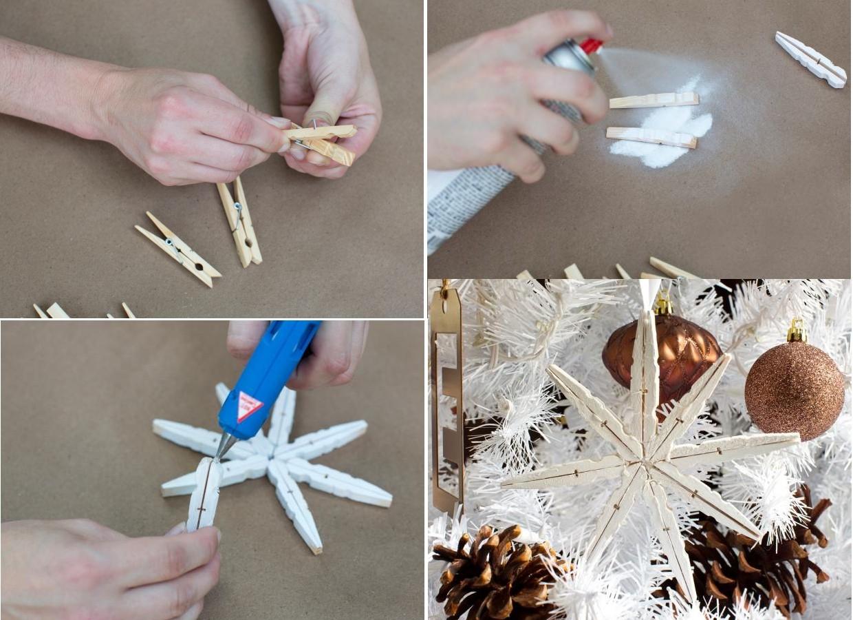 Новогодняя игрушка на елку в детский сад: из прищепок