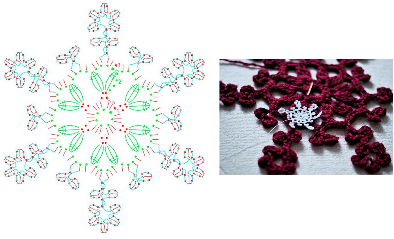 Как вязать снежинку крючком: схема 8