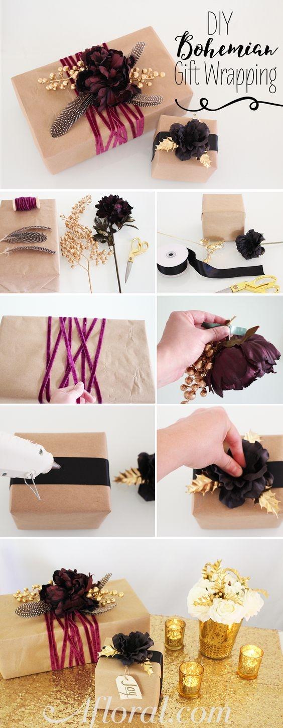 Как упаковать подарок в подарочную бумагу: декор из цветов