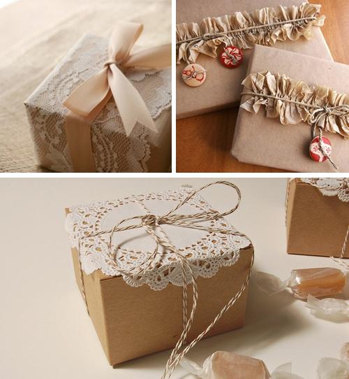 Как упаковать подарок в подарочную бумагу: декор из кружева