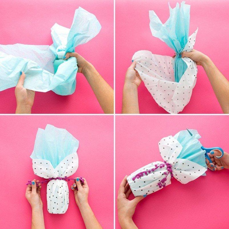 Как упаковать бутылку в подарочную бумагу